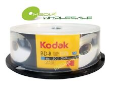 25 KODAK 50GB Blank Blu-Ray BD-R BDR DL 6X Dual Double Layer Inkjet Printable