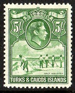 TURKS and CAICOS 1938 5/= DEEP GREEN sg 204a  UNMOUNTED - NEVER HINGED