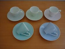 SET OF 5 VINTAGE HEINRICH H & Co SELB BAVARIA GERMANY HARLEQUIN CUPS & SAUCERS