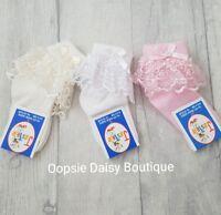 Baby Girls Gorgeous Ribbon & Pearls Frilly Ankle Socks ☆ Newborn upto 2yrs☆