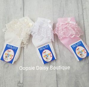 Baby Girls Gorgeous Ribbon & Pearls Frilly Ankle Socks ☆ Newborn upto 6yrs☆