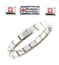 Multiple Sclerosis MS Superlink 9mm Italian Charm Medical Alert ID Bracelet