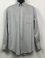 Peter Millar Mens Button Front Long Sleeve Cotton Plaid Shirt Large Blue/White