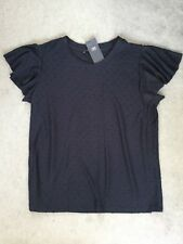 M&S NAVY BLUE TOP WITH BLUE DOTS ALL OVER FRONT/ BACK & FAN CAP SLEEVES - BNWT