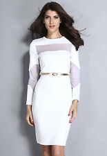 Womens White White Mesh  Cut-Out Midi Prom Cocktail Party Evening Dress UK