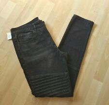 ELWOOD Mens Jeans Size 34 x 32 Black Skinny 99% Cotton Denim MOTO Jeans Otis NWT