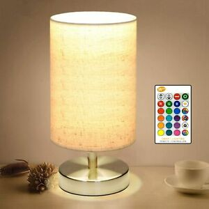 Bedside Table Lamp, LED Modern Nightstand Desk Lamp, Remote Dimmable RGB
