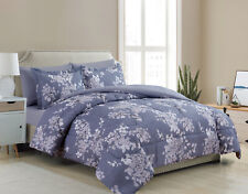 Goose Down Alternative Bed in a Bag Blue Floral 7 Pcs Sheet Comforter Set Queen