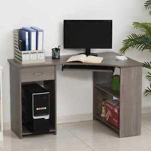 Grey Corner Desk L Shaped Computer Workstation Table Home Office Keyboard Tray