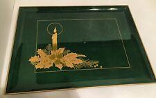 Japan Otagiri Lacquerware Serving Tray  Hunter Green/Gold Candlestick Decor