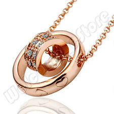 18KGP Fashion Necklace Rose Gold Plated Crystal Lover Lucky Ring Chain Pendant