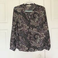 Daniel Rainn Women's Paisley Print Long Sleeve Blouse Size PL
