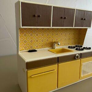 Vintage Barbie Kitchen Furniture Mid Century Modern Illco Yellow Kitchen Set