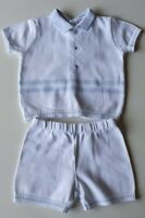 Baby Boys White & Blue Sarah Louise Shorts & Top Age 6 Months, VGC