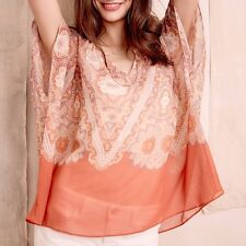 ANTHROPOLOGIE MAEVE Nalina Silk Tunic Kimono Top Blouse Orange By Maeve XS $148