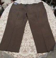 STAFFORD TRAVEL, MEN'S NEW Brown Poly Bl Flat Classic Fit Expand Pants Sz 54/29