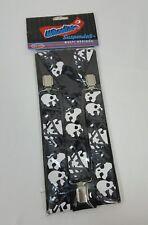 Wheelies Suspenders Skull Bones Black White Gray One Size