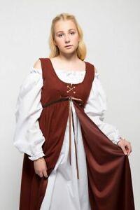 Medieval Dress, Renaissance Peasant Gown w/ White Chemise 2pc Costume Ren Faire