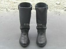 1/6 Scale Toy Western Gear - Black Leather Cavalry Boots (Foot Type)