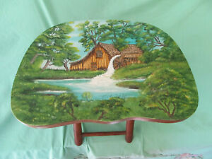 Vintage Nevco Fold n Carry Stool 1950s with hand painted scene primitive