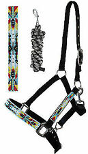 Horse Beaded Nylon Halter Nickle Plated Hardware W/ Lead Rope Tack Black 606170