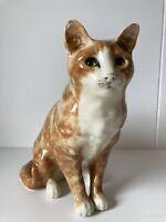 "Mike Hinton Life Size Large 12"" Ginger Cat Figurine BROKEN !"