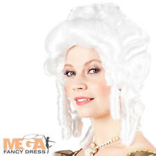 White Baroque Wig Ladies Fancy Dress Medieval Renaissance Ball Womens Accessory