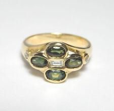 18ct Gold GREEN TOURMALINE & DIAMOND Ring