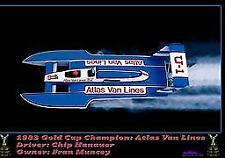 "43"" 1983 Atlas Van Lines  1/8 Scale Fiberglass RC BOAT HULL DECK & COWL USA MADE"