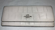 Coach White Soft Wallet Leather Crocodile Pattern Silver Embossed Emblem