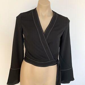 Miss Selfridge TOP JACKET New Size UK10 Black Crossover tie Long sleeves Women's