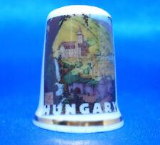 Birchcroft China Thimble - Travel Poster Series - Hungary - Free Dome Gift Box