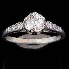 Art Deco Old European Cut Diamond 14k White Gold Ring Engagement Antique Vintage