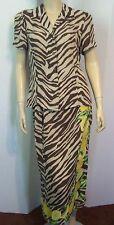 CARLISLE Brown Zebra Stripe Lemon Wedge Border Print Silk Top Wrap Skirt Set 6