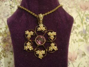 Beautiful,Finely Crafted Antique Art Nouveau Seed Pearls Set Gold Gilded Pendant