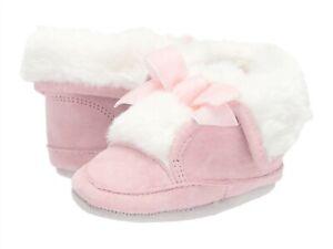 NIB ROBEEZ Willa Pink Cozy Suede Bootie Soft Sole 18-24 mo US 6.5-8 w/Faux Fur