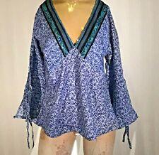 Little Birdy Studios- Handmade 100% Silk Slip On Summer Blouse / Shirt Top Sz L!