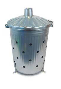 Incinerator Fire Bin 90 Litre Heavy Gauge Fast Burner With HOLES ALL THE WAY UP