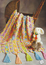Crochet Pattern ~ BRIGHT RIBBONS BABY AFGHAN Mile-A-Minute ~ Instructions