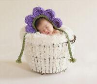 Newborn Baby Girls Handmade Crochet Purple Flower Hat Knitted Photography Prop