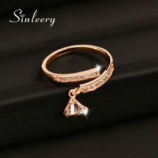 Korean Fashion Adjustable Size Crystal Pendant Women Midi Rings 18K Rose Gold