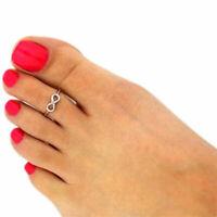 Silver Coloured Love Infinity Letters Toe Thumb Finger Ring Adjustable Boho UK