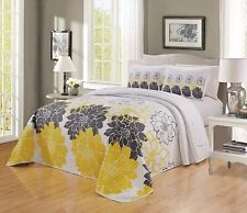 Sunshine Yellow White Grey Floral Reversible Bedspread Cal King Size Coverlet