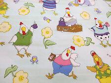 Sky Hens & Flowers Printed 100% Cotton Poplin Fabric. PER METRE!