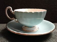 Aynsley Marlina Tea Cup & Saucer Aqua-Blue Floral w/Gold Leaves Scalloped Rim