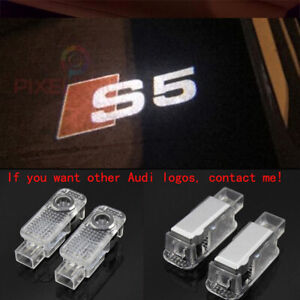 2 Audi S5 Logo LED Laser Projector Car Door Welcome Ghost Courtesy Shadow Lights