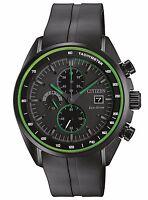 Citizen Eco-Drive Men's CA0595-11E Chronograph Green Accents Black 44mm Watch