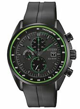 Citizen Eco-Drive Men's CA0595-11E Chronograph Green Accents Black Sport Watch