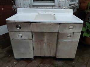 "Vintage 1939? White porcelain 50"" with metal cabinet kitchen farm sink art deco"