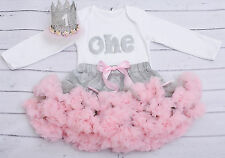 Baby girl first 1st birthday tutu outfit cake smash pink&grey